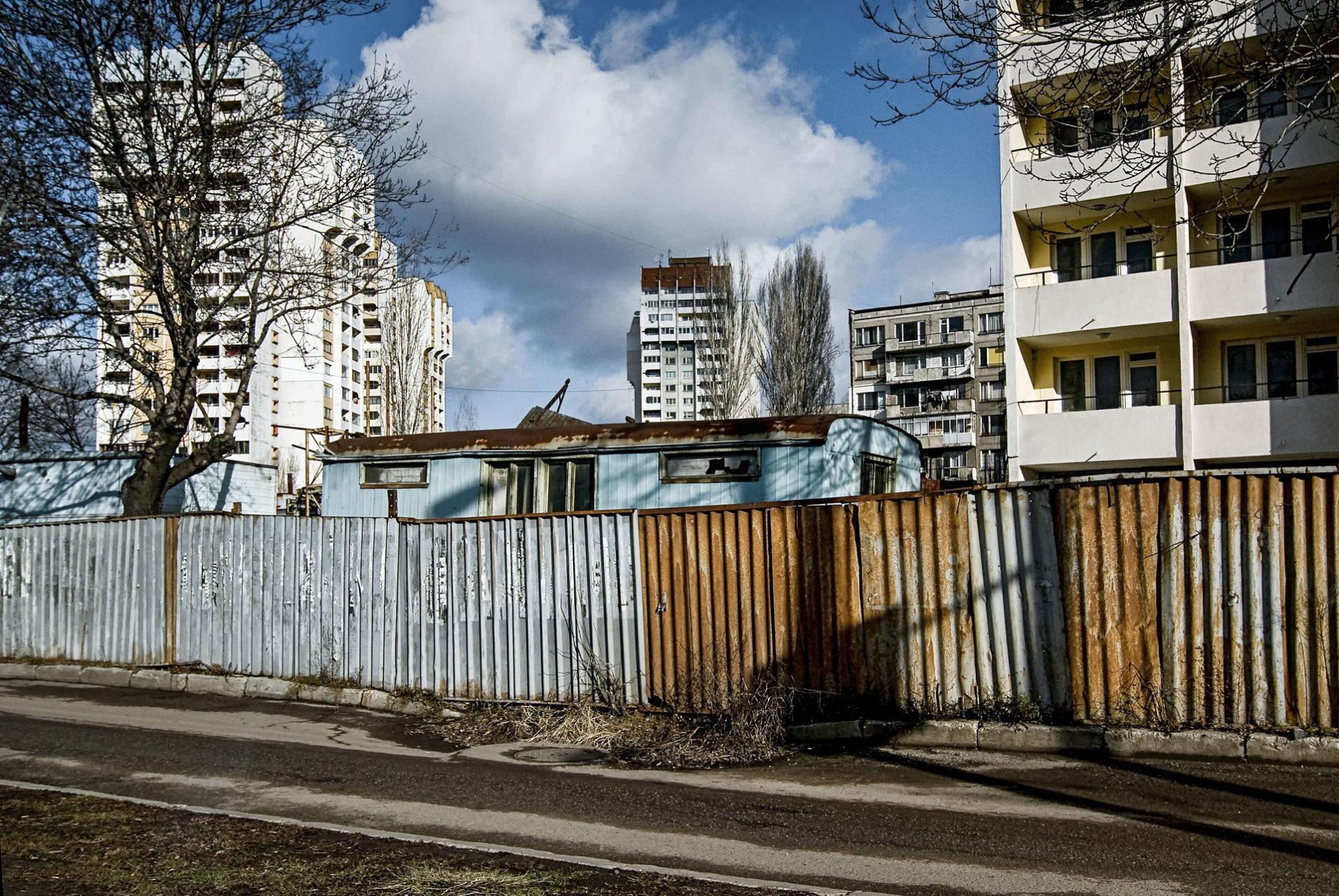Onderkomen van bouwvakkers, Sofia, Bulgarije 2007.
